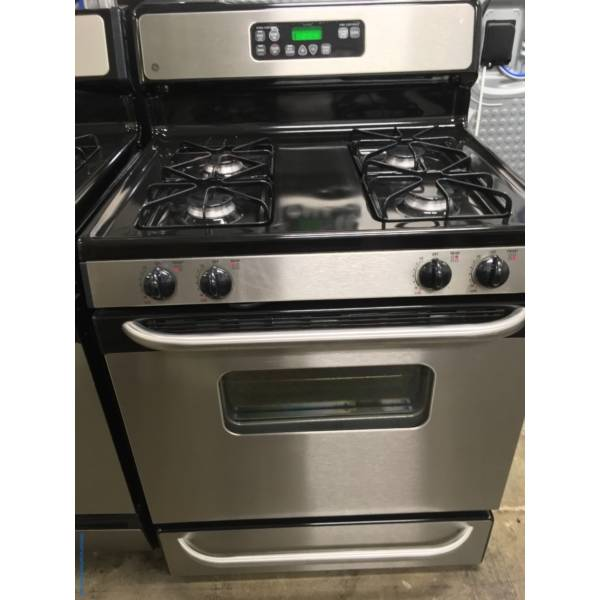 GE GAS Range in Black with Stainless Steel, Quality Refurbished 1-Year Warranty
