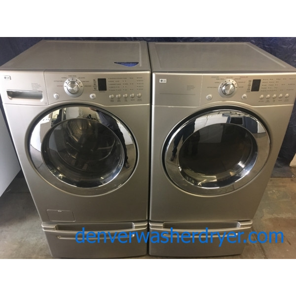 Quality Refurbished 27″ LG Front-Load Stackable Direct-Drive Washer & Electric Dryer Set w/Pedestals, 1-Year Warranty