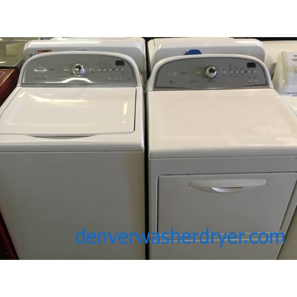 Whirlpool Cabrio HE Washer and Dryer Set, Energy-Star Rated, Wash-Plate Style, Wrinkle Shield, Auto-Load Sensing, PreSoak and Extra-Rinse Options, Quality Refurbished, 1-Year Warranty!
