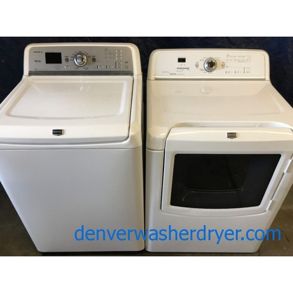 28″ HE Maytag Bravo Top-Load Direct-Drive Washer & Electric Dryer, 1-Year Warranty