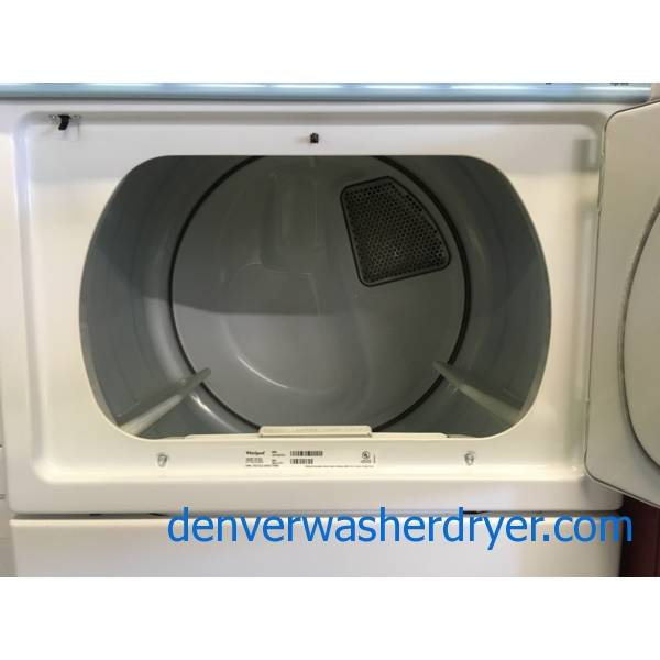Whirlpool Unitized 27″ Wide Washer and Dryer, Electric, Automatic Dry, Fabric Softener Option, Agitator, Quality Refurbished, 1-Year Warranty!