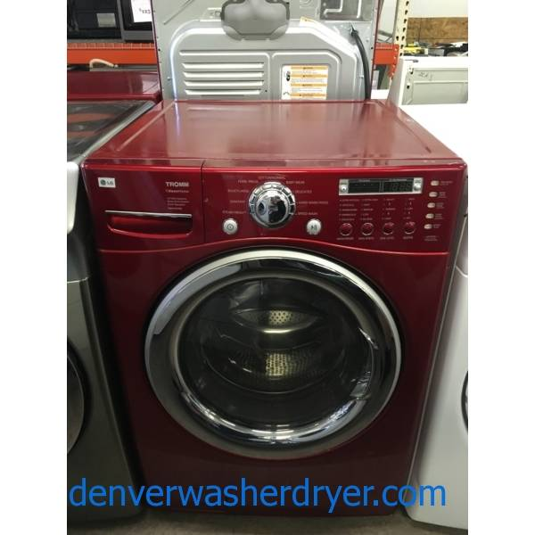 LG Front-Load Cherry Red Washer, HE, Steam Fresh, Sanitary and Baby Wear Cycle, 4.0 Cu.Ft. Capacity, Quality Refurbished, 1-Year Warranty!