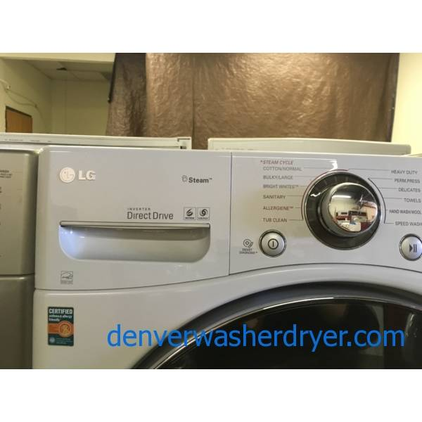 Beautiful LG White Front-Load Washer, HE, Steam, Sanitary and Allergiene Cycles, 4.0 Cu.Ft. Capacity, Quality Refurbished, 1-Year Warranty!