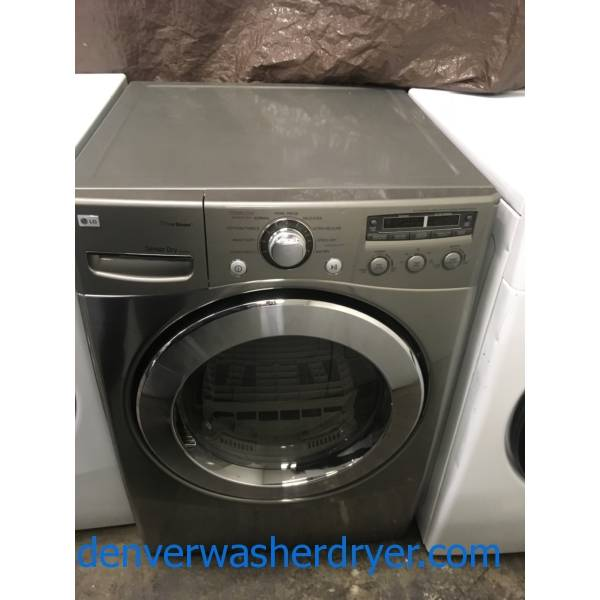 LG Front-Load Electric Dryer, Grey, Steam, Sensor Dry, Wrinkle Care and Easy Iron Options, 7.3 Cu.Ft. Capacity, Quality Refurbished, 1-Year Warranty!
