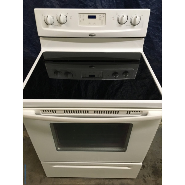 Whirlpool 30″ Almond-Colored Self-Cleaning Free-Standing Glass-Top Electric Range, 1-Year Warranty