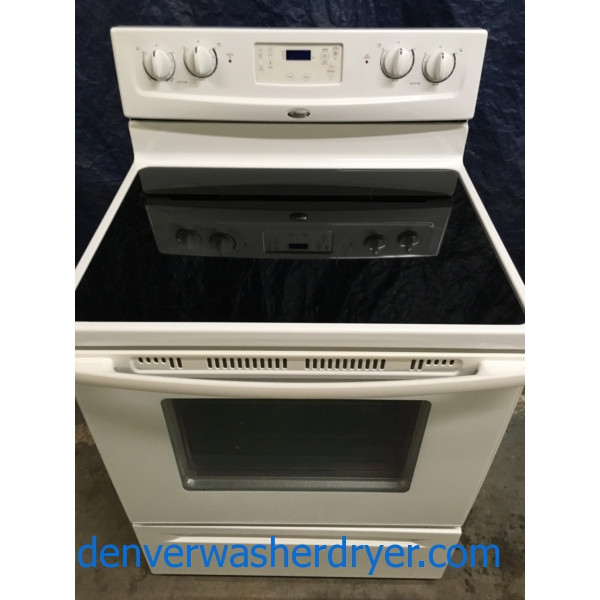 30 White Free Standing Whirlpool Gl Top Self Cleaning Electric Range W