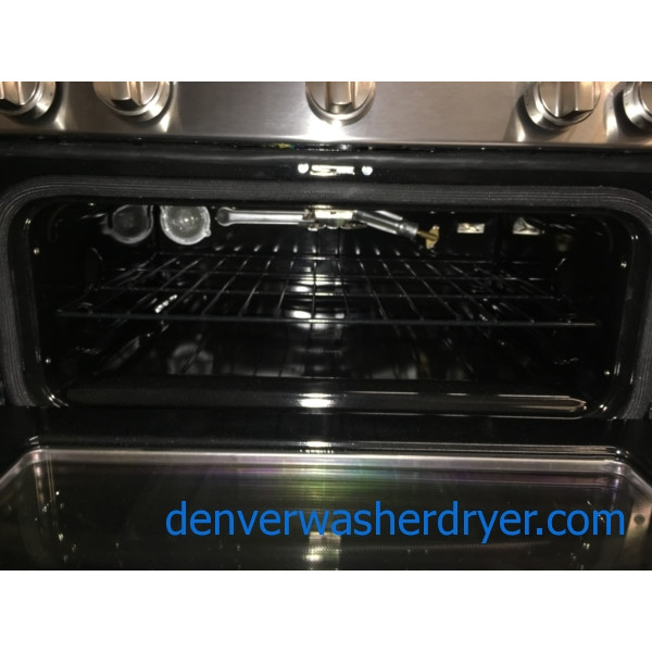 BRAND-NEW 30″ GE Profile Stainless (6.8 Cu. Ft.) Double-Oven *GAS* Range w/Self Cleaning Convection Oven, 1-Year Warranty
