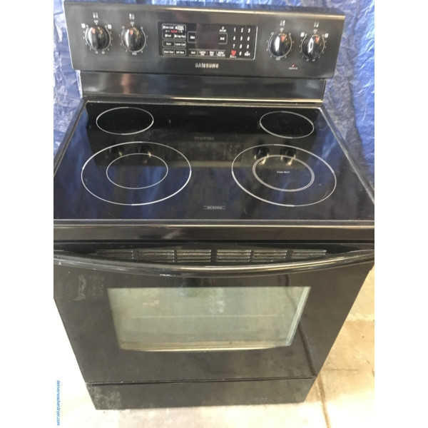 Samsung Glass-Top 30″ Free-Standing Electric Range, 1-Year Warranty