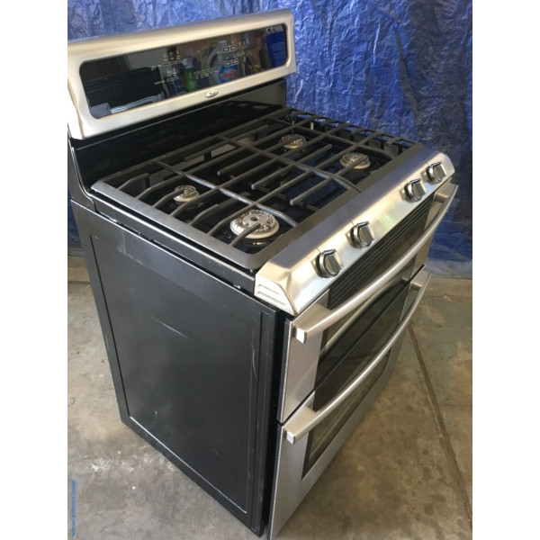 BRAND-NEW Stainless 30″ Whirlpool Free-Standing Self-Cleaning (6.0 Cu. Ft.) Double-Oven *GAS* Range, 1-Year Warranty