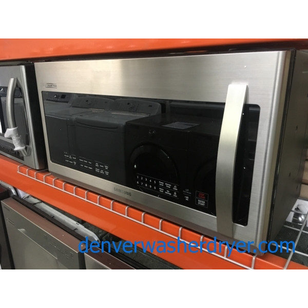 BRAND-NEW 30″ Samsung Chef-Collection Stainless (2.1 Cu. Ft.) Over-the-Range Microwave w/Sensor-Cooking, 1-Year Warranty