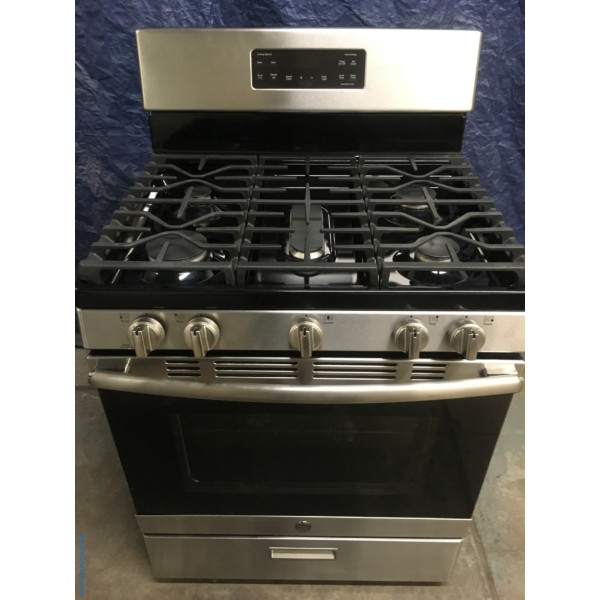 BRAND-NEW GE Stainless 30″ Free-Standing *GAS* (5.0 Cu. Ft.) Range, 1-Year Warranty