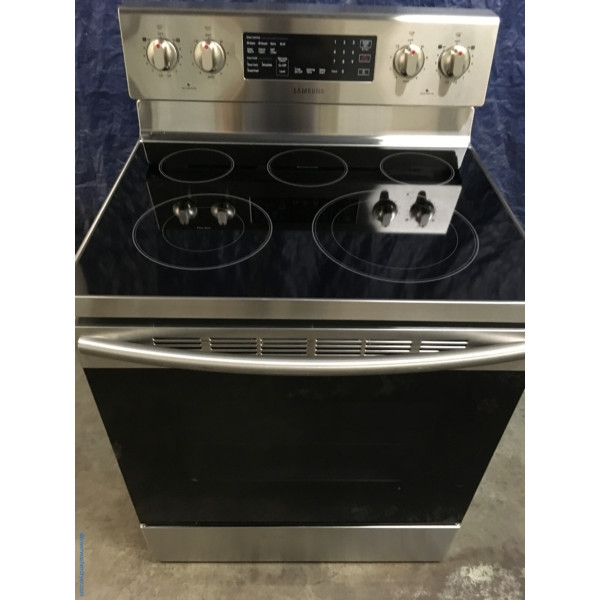 BRAND-NEW Stainless Samsung Glass-Top 30″ Free-Standing Self-Cleaning Convection Electric Range, 1-Year Warranty