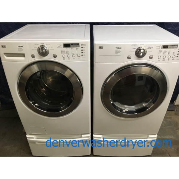 27″ Quality Refurbished LG HE Front-Load Stackable Direct-Drive Washer & Electric Dryer w/Pedestals, 1-Year Warranty