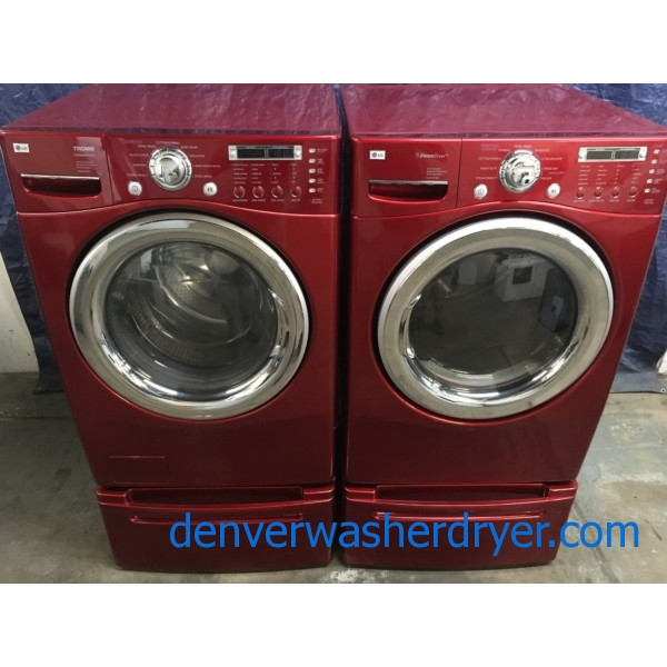 Quality Refurbished Wild Cherry Colored 27 Lg Stackable Front Load Direct Drive