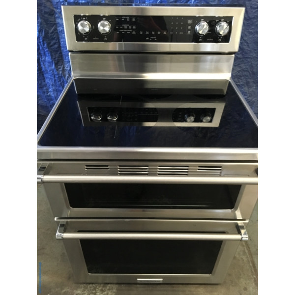 BRAND-NEW 30″ Stainless KitchenAid Self-Cleaning Free-Standing Double-Oven (6.7 Cu. Ft.) Electric Range w/Convection, 1-Year Warranty