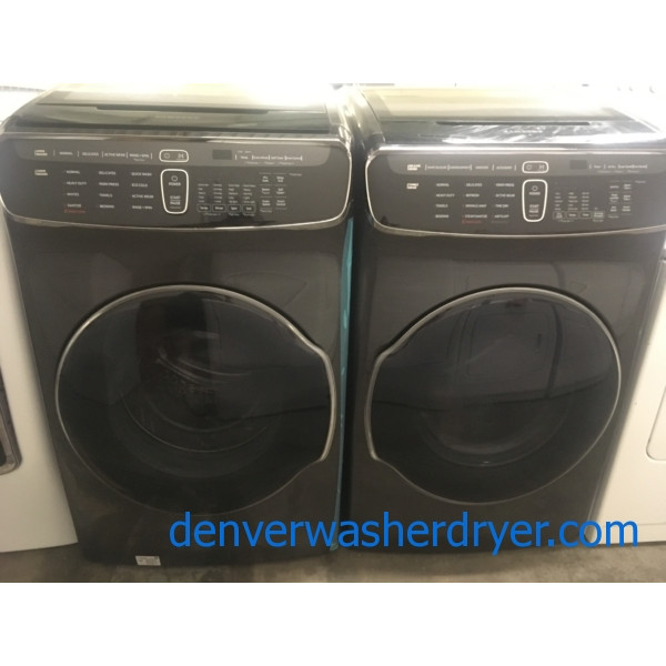 BRAND-NEW BLACK STAINLESS 27″ HE Samsung Flex-Wash Front-Load Direct-Drive Steam-Washer & Samsung Flex-Dry *GAS* Steam-Dryer, 1-Year Warranty