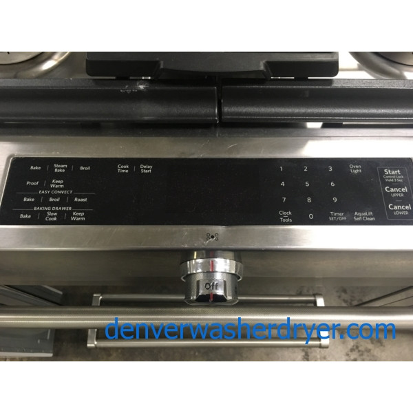 BRAND-NEW Stainless KitchenAid 30″ Slide-In *GAS* Self-Cleaning (7.1 Cu. Ft.) Range w/True Convection Oven, 1-Year Warranty