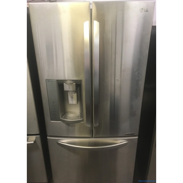 33″ LG Stainless French-Door (24.2 Cu. Ft.) Refrigerator w/Smart Cooling System, 1-Year Warranty