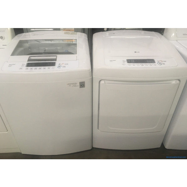 27″ LG HE Top-Load Washer & HE Electric Dryer, 1-Year Warranty