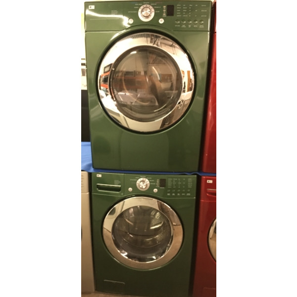 27″ Emerald Green LG Front-Load Stackable Direct-Drive Washer w/Sanitary & Electric Dryer, Quality Refurbished, 1 -Year Warranty