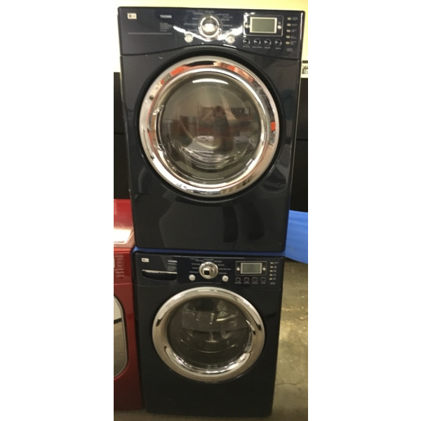 Front-Load Stackable LG Washer/Dryer Set, Electric, Navy Blue, Energy Star, Direct-Drive, Steam/Sanitary Cycles, 1-Year Warranty
