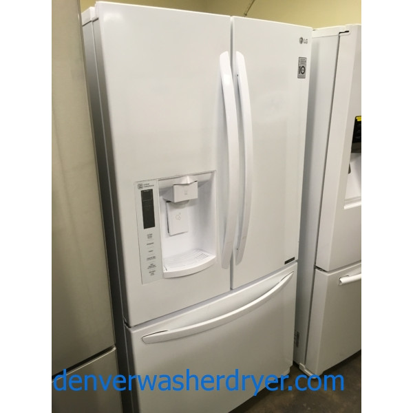 Brand-New French-Door Refrigerator by LG, 26.8 cu.ft., Linear Compressor, Slim-Ice System, In-Door Dispenser, 1-Year Warranty