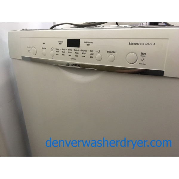 "NEW! White Bosch Ascenta 24"" Recessed Handle Dishwasher, Energy Star"