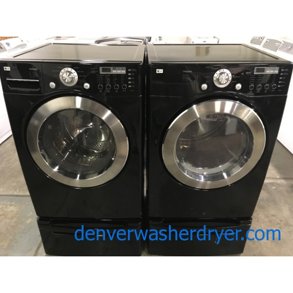 Quality Refurbished 27″ LG Front-Load Stackable HE Direct-Drive Washer & Electric Dryer Set w/Pedestals, 1-Year Warranty