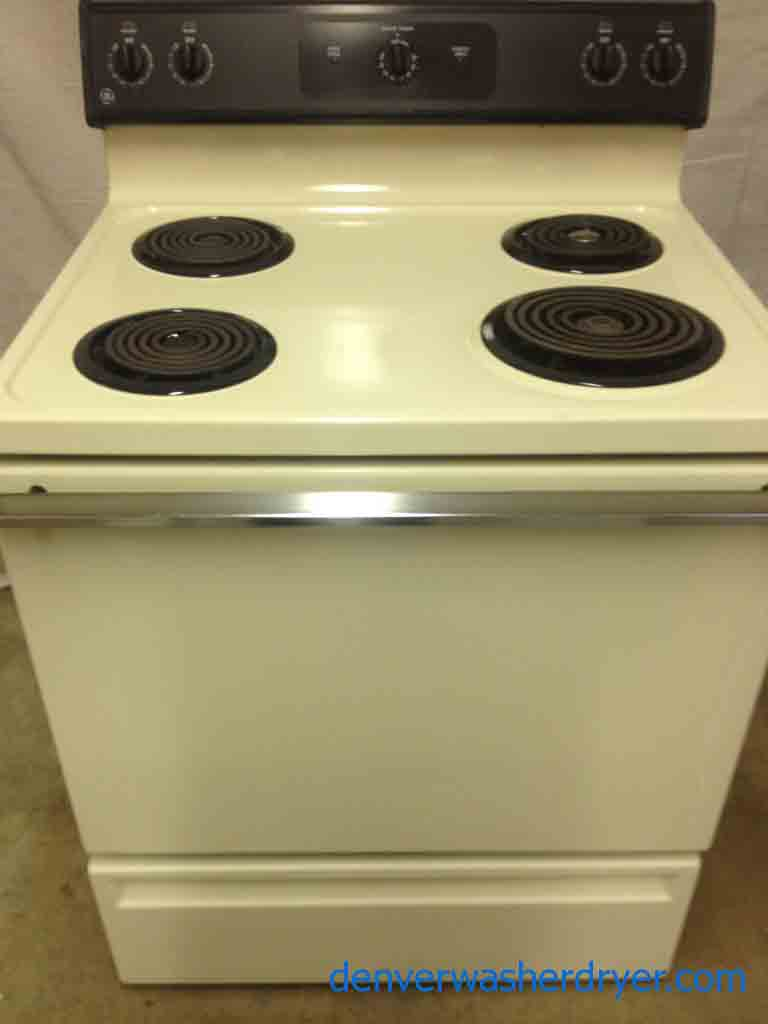 beautiful beige ge electric stove