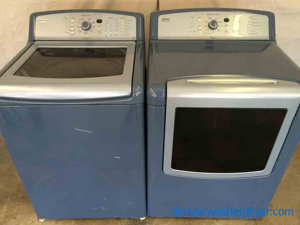 Kenmore Elite Oasis Washer Dryer Set Canyon Capacity Super High End Blue
