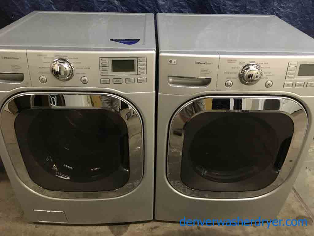 lg frontload washer dryer set electric stackable 1year warranty