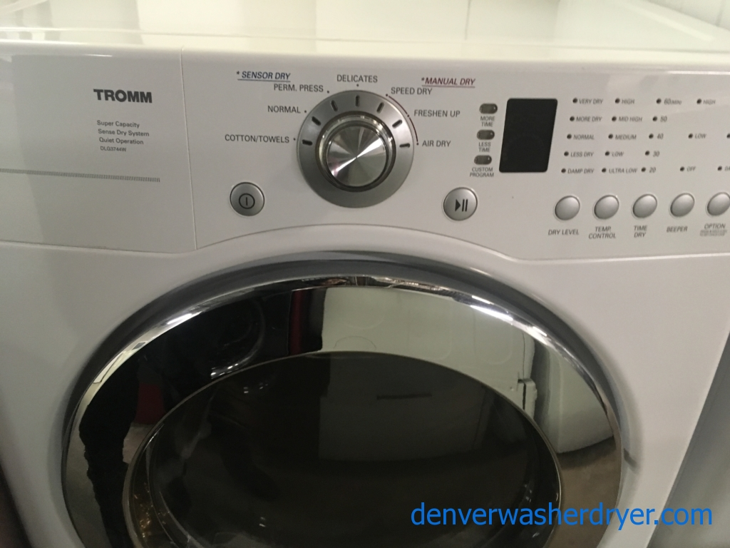 Great LG TROMM Dryer, White, GAS, Wrinkle Care, Capacity 7.3 Cu.Ft., Quality Refurbished, 1-Year Warranty!