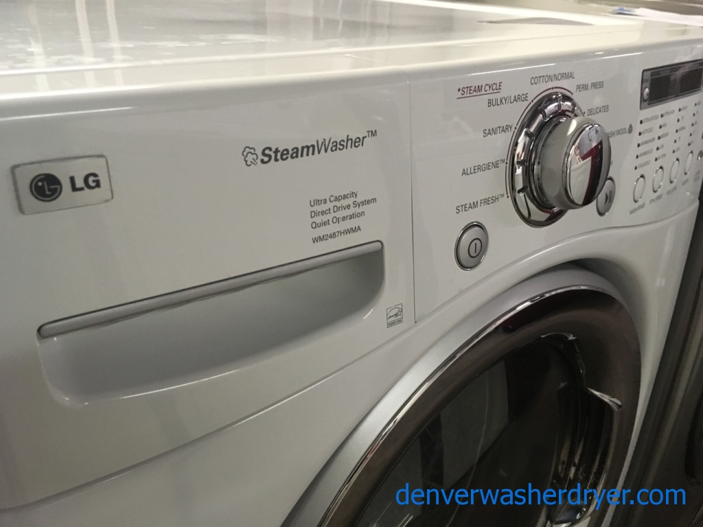 Beautiful LG Front-Load Washer, White, HE, Energy-Star, Capacity 4.2 Cu.Ft., Quality Refurbished, 1-Year Warranty!