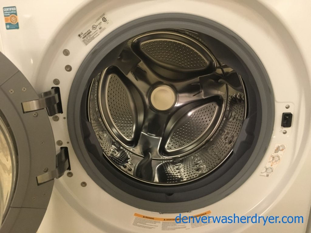 NEW! Great LG Front-Load Washer, White, HE, Energy-Star, Capacity 4.5 Cu.Ft., Additional 2-Year Warranty!