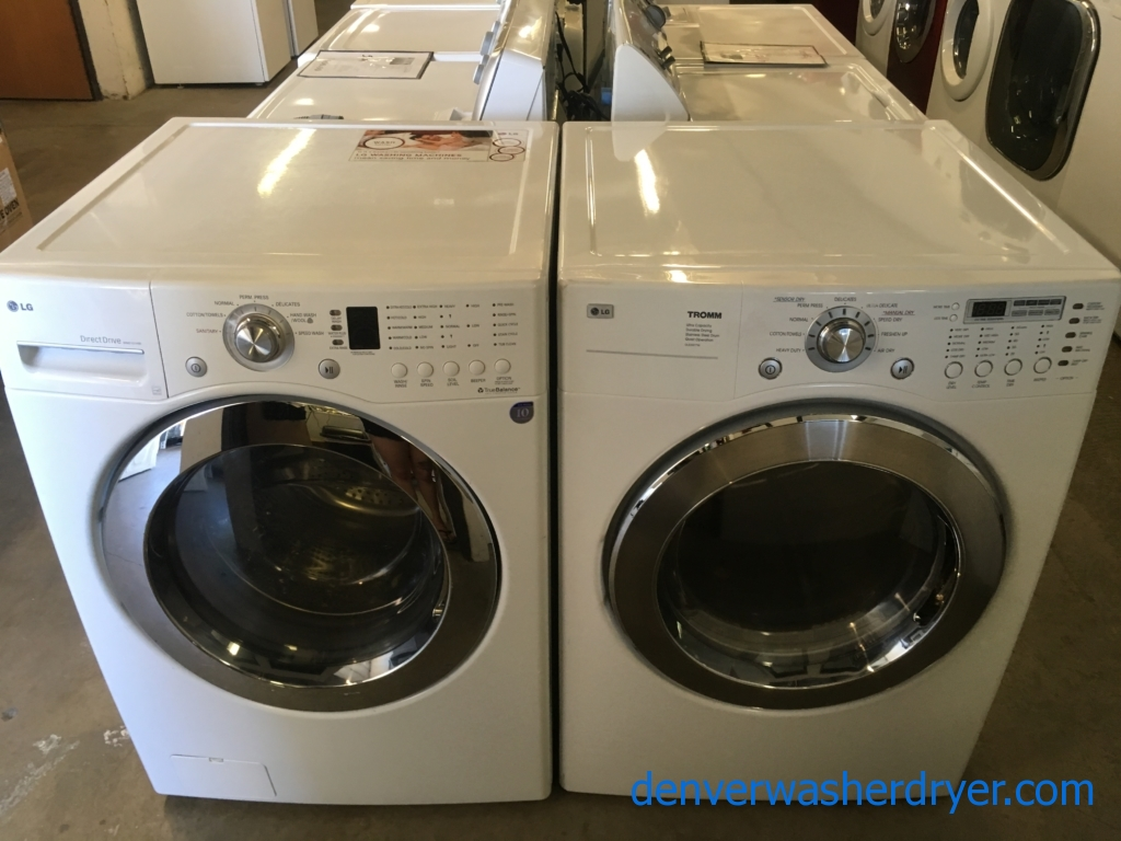 Lovely LG Set, White, HE, 220V, Stainless Drum, Anti-Bacterial and Wrinkle Care Feature, Sanitary Cycle, Quality Refurbished, 1-Year Warranty!