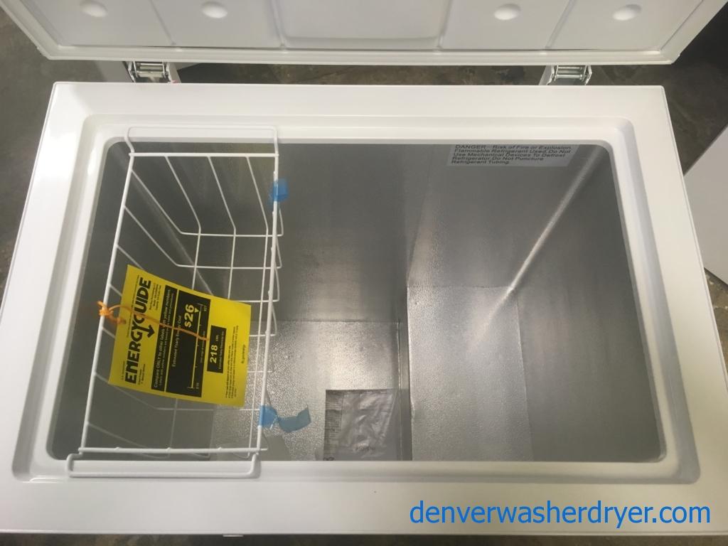 NEW!! Insignia Chest Freezer, White, Capacity 5.0 Cu.Ft., 29″ Wide, 1-Year Warranty!