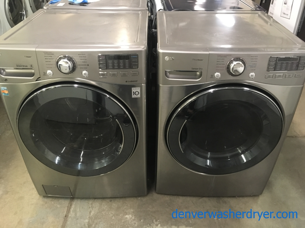 Great LG Steam Front-Load Set, Graphite Steel, HE, 220V, Sanitary Cycles, Custom Program, Quality Refurbished, 1-Year Warranty!