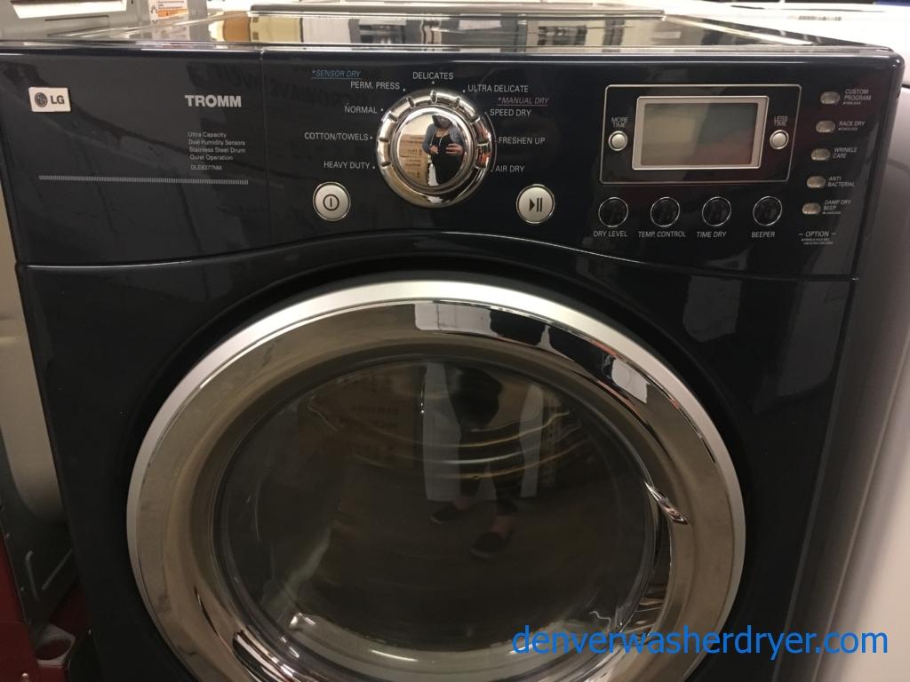 Beautiful Front-Load LG TROMM Dryer, Midnight Blue, Capacity 7.3 Cu.Ft., Anti-Bacterial, 220V, Sensor Dry, Quality Refurbished, 1-Year Warranty!