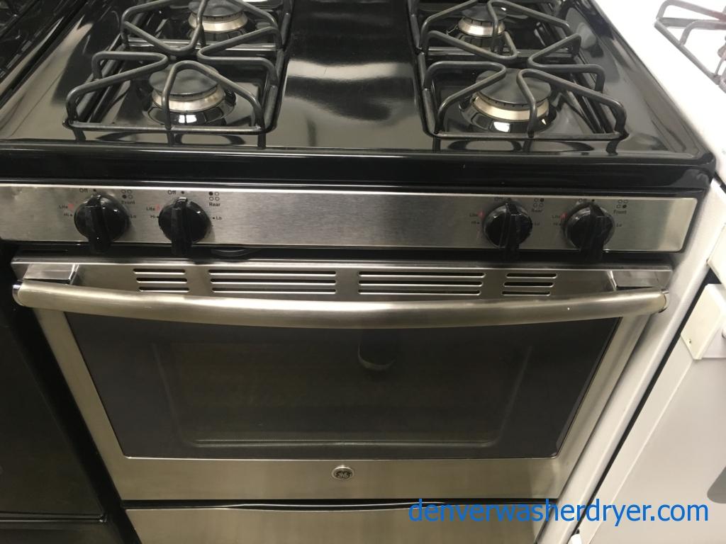Beautiful GE Range, GAS, Black w/ Stainless, 4 Burners, Self Clean, Storage Drawer, Quality Refurbished, 1-Year Warranty!