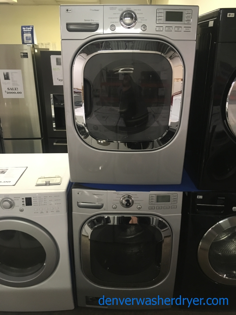 Beautiful LG Front-Load Set, Pure Silver, HE, Steam, Sanitary and Allergiene Cycles, 220V, Wrinkle Care, Quality Refurbished, 1-Year Warranty!