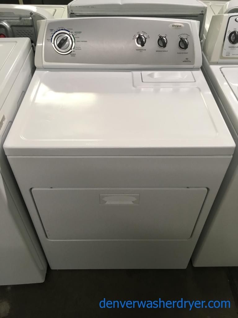 Nice Whirlpool Dryer., Sensor Drying, 220V, 29″ Wide, Wrinkle Shield Option, HE, Capacity 7.0 Cu.Ft., Quality Refurbished, 1-Year Warranty!