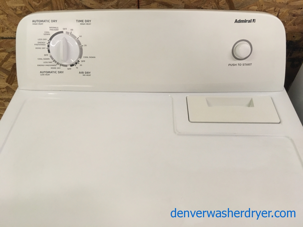 Admiral GAS Dryer, Wrinkle Prevent Option, 29″ Wide, Capacity 7.0 Cu.Ft., Quality Refurbished, 1-Year Warranty!