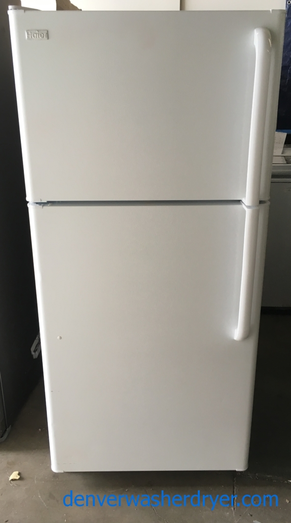 Lightly Used Haier Top-Mount Refrigerator, White Textured, 18.1 Cu.Ft. Capacity, 30″ Wide, Quality Refrubished, 1-Year Warranty!
