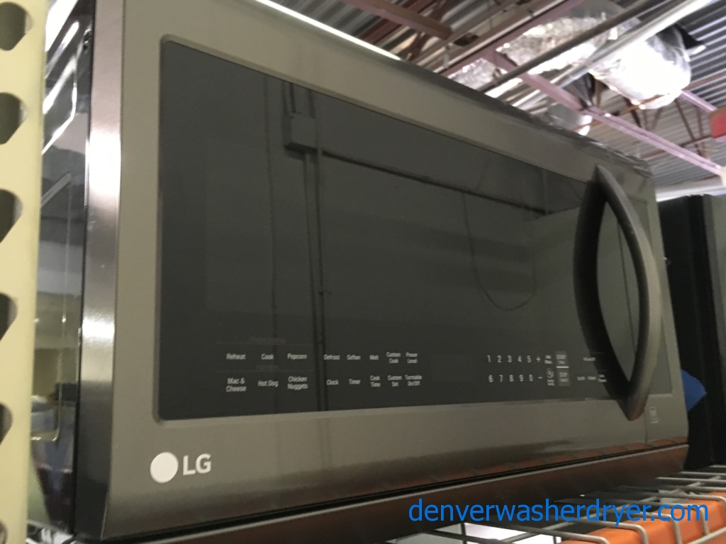 NEW! LG Black Stainless Microwave, Over-the-Range, 2.2 Cu.Ft. Capacity, LED Lighting, Sensor Cooking, Melt/Soften Featurem, 1-Year Warranty!