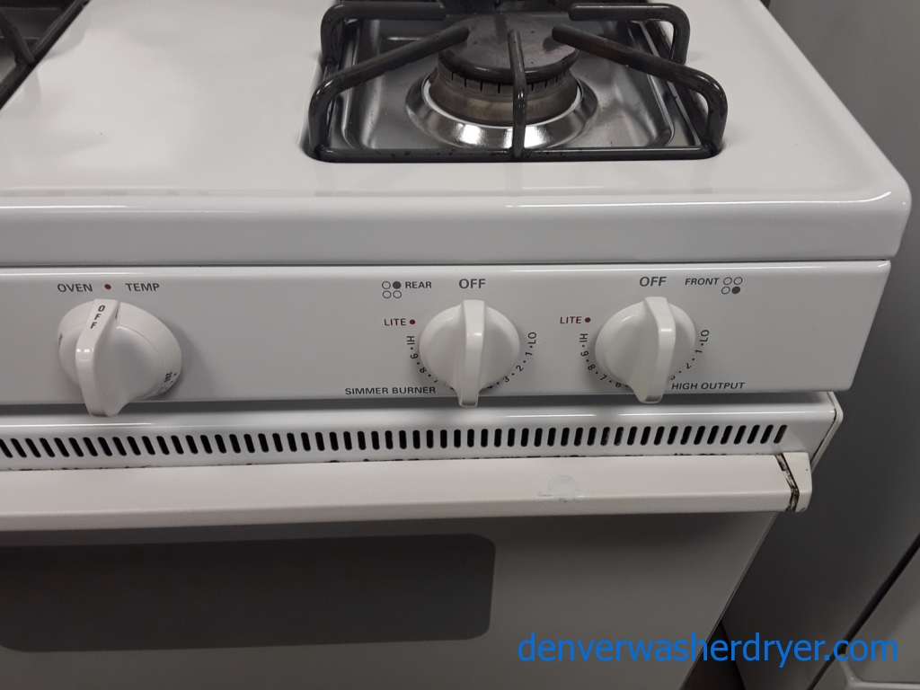 Kenmore White GAS Range, 4 Burners, Storage Drawer, 30″ Wide, Quality Refurbished, 1-Year Warranty Parts Only
