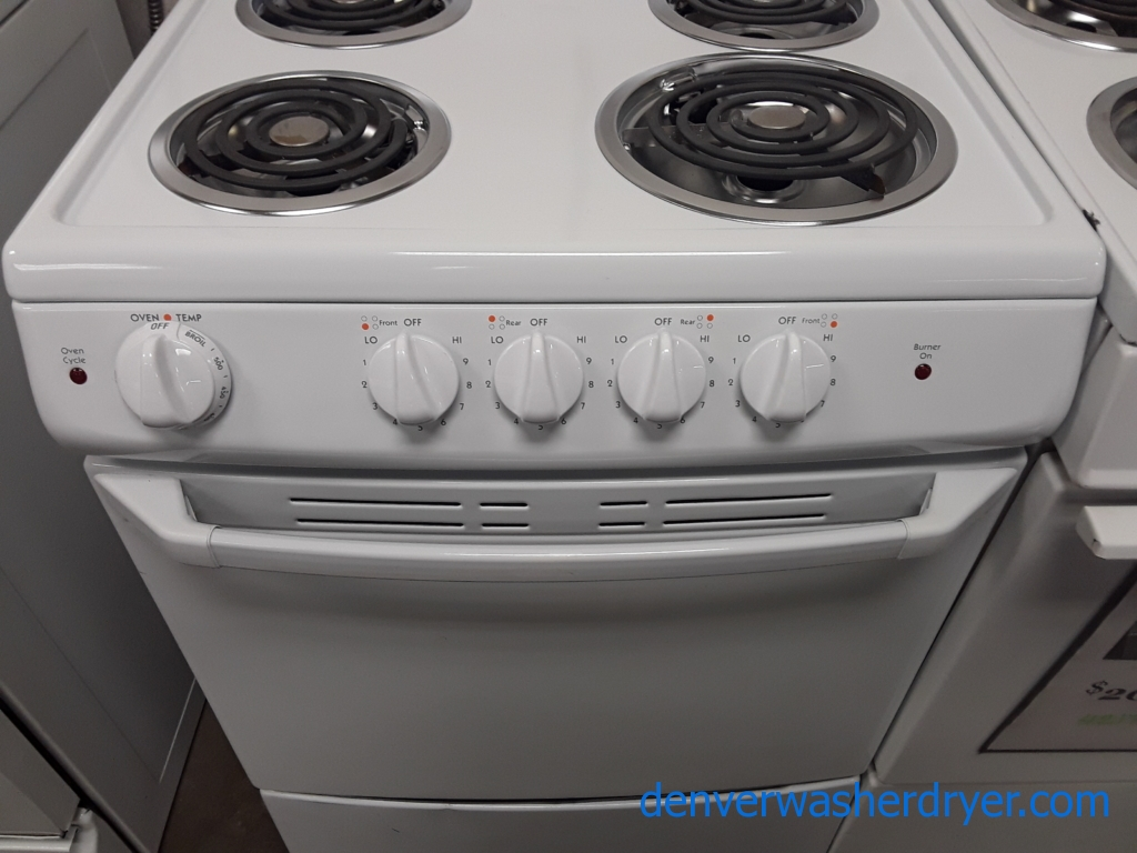 New Hotpoint 24″ Range, Insiginia 14 cu. ft. Chest Freezer, Magic Chef Bottom-Mount Refrigerator