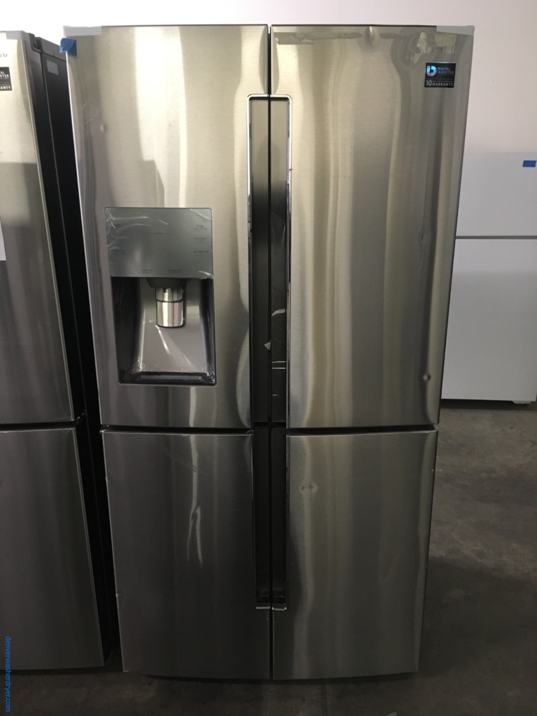 NEW!! Samsung French 4-Door Refrigerator, Stainless, Counter-Depth, 22.5 Cu.Ft. Capacity, LED Lighting, Energy-Star Rated, CoolSelect Plus Feature, 1-Year Warranty!