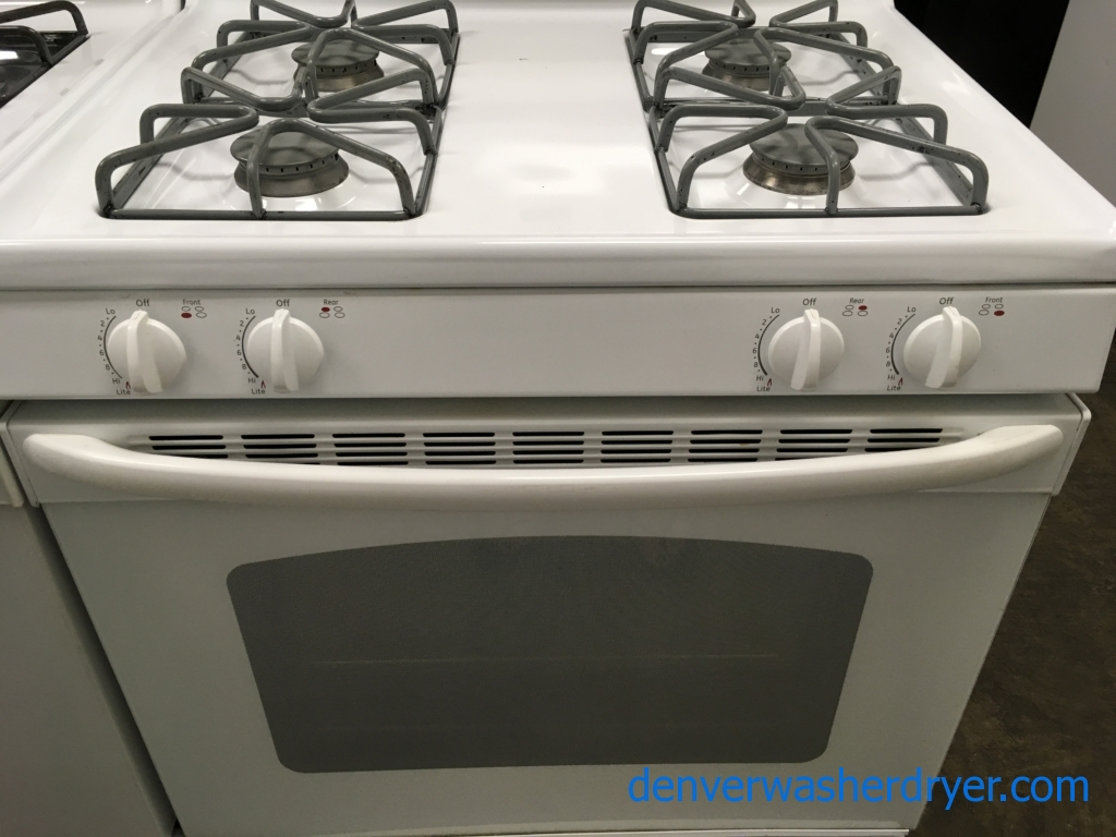 GE GAS Range, 4 Burners, White, Oven Light, Storage Drawer, Quality Refurbished, 1-Year Warranty!