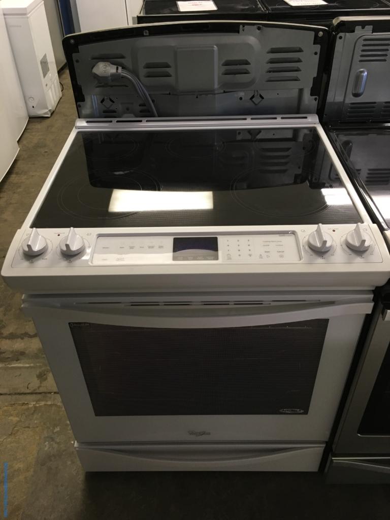 Slide-In Whirlpool Glass-Top Range, White, 5-Burner, AquaLift Self-Cleaning, Quality Refurbished, 1-Year Warranty!