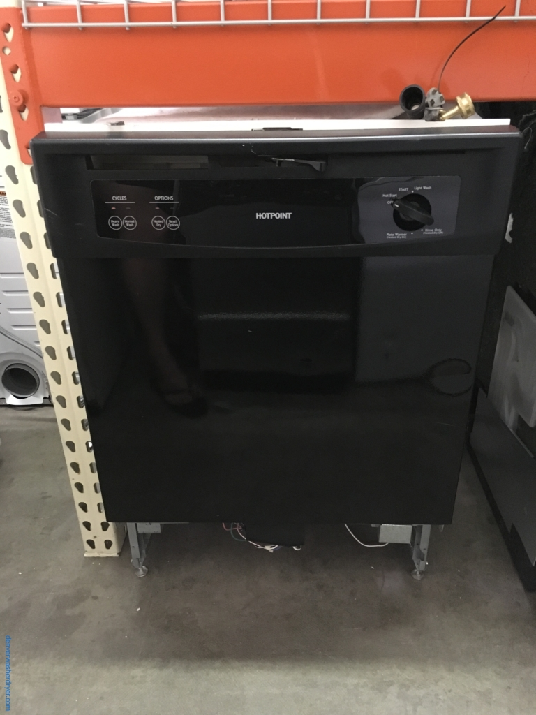 Hotpoint Black Dishwasher, Plastic Tub, Plate Warmer, 2 Racks, Quality Refurbished, 1-Year Warranty1